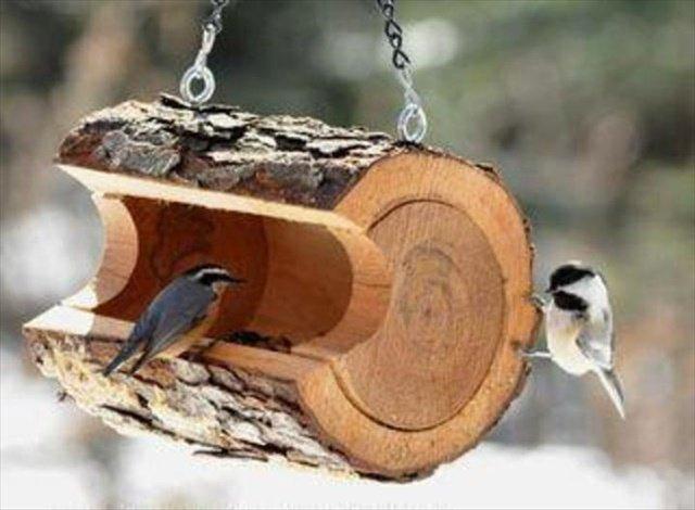 rustic log birdfeeder